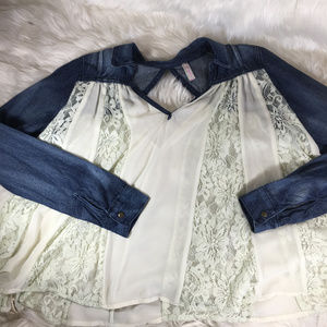 Free People Denim Pale Blue Lace Flannel Style Top